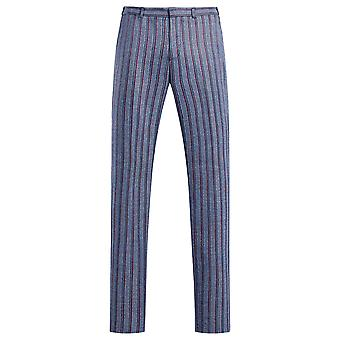 Allthemen Men 's Listrado Casual Pants Straight Fit Suit Calças
