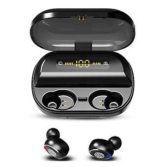 H & A 9D TWS Wireless Smart Touch Control Earpieces Bluetooth 5.0 In-Ear Wireless Buds Earphones Earbuds 4000mAh Powerbank Earphone Black