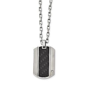 Edelstahl gebürstet und poliert mit Blk Kohlefaser Inlay und CZ Halskette 24 Zoll Schmuck Geschenke für Frauen