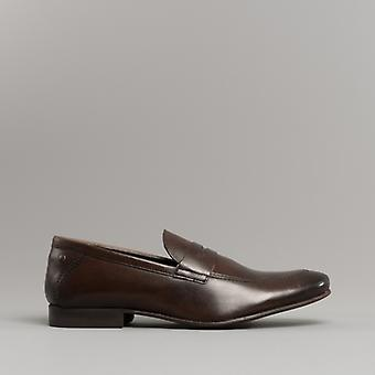 Base London Tenor Mens Leather Loafers Washed Brown