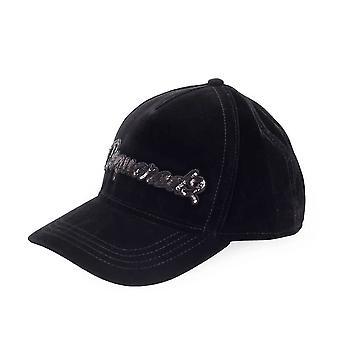 Sequined Embroidered Velvet Baseball Cap