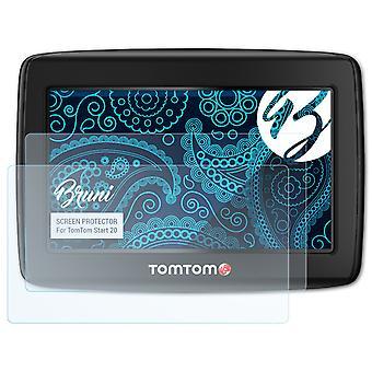 Bruni 2x näytönsuoja yhteensopiva TomTom Start 20 suojaava kalvo