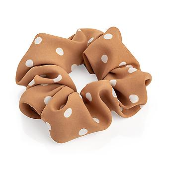 Stylish Brown & White Colour Polka Dot 4.5cm Elasticated Hair Scrunchie