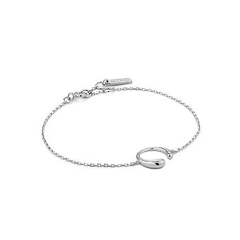 Ania Haie Luxe Minimalism Rhodium Luxe Curve Bracelet B024-01H