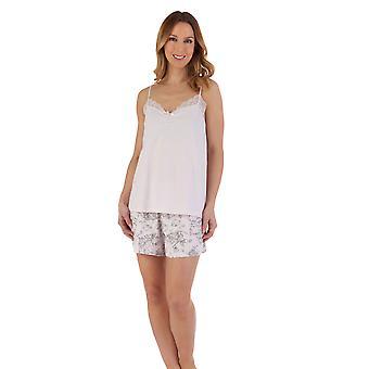 Slenderella PJ55123 Women's Pink Floral Cotton Camisole and Short Pyjama Set