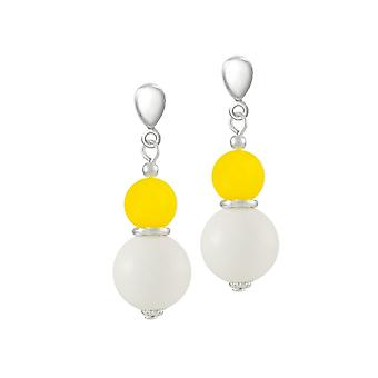 Eternal Collection Cosmopolitan Yellow Glass Pearl And Mountain Jade Drop Clip On Earrings