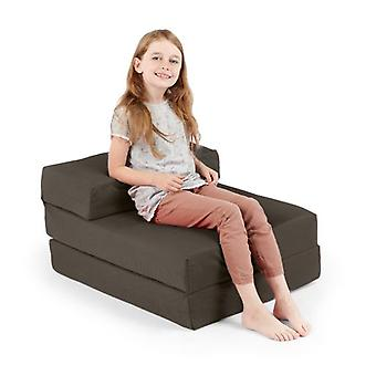 Comfortabele 100% Cotton Single Fold Out Z Bed Chair Futon in Grijs