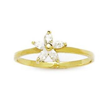14k Yellow Gold CZ Cubic Zirconia Simulated Diamond Size 3 Ball Drop for boys or girls Baby Ring