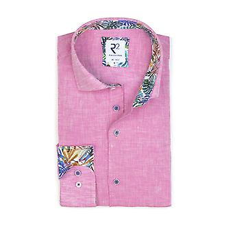 R2 Long Sleeved Linen Shirt Pink