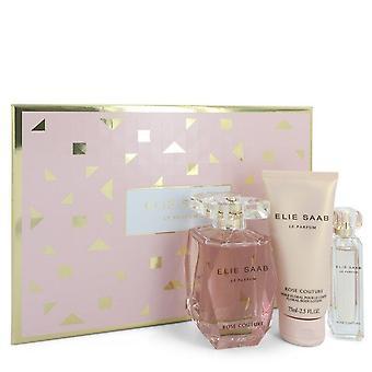 Le Parfum Elie Saab Rose Rose Couture Gift Set by Elie Saab 3 أوقية Eau De Toilette Spray + 0.33 ميني EDT Spray + 2.5 oz غسول الجسم