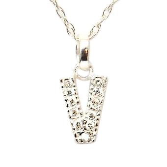 TOC Sterling Silver Clear Rhinestone Set Initial 'V' Pendant Necklace 18