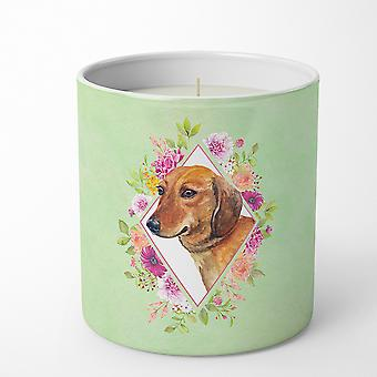 Dachshund Red #1 Green Flowers 10 oz Decorative Soy Candle