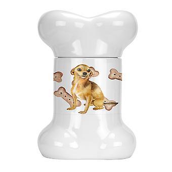 Carolines Trésors CK2238BSTJ Chihuahua Bone Shaped Treat Jar