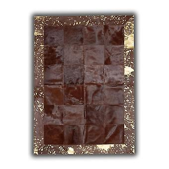 Rugs -Patchwork Cubed Cowhide - Brown with Gold Acid Border
