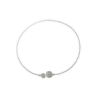 Silver Collar Necklace With Crystal Detail