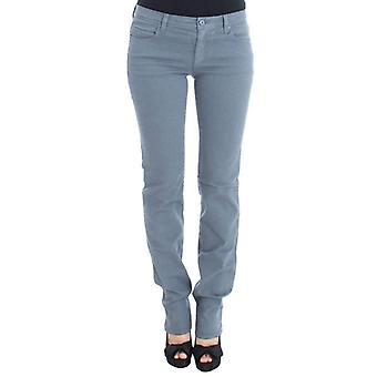 Blue Cotton Blend Slim Fit Bootcut Jeans -- SIG3408133