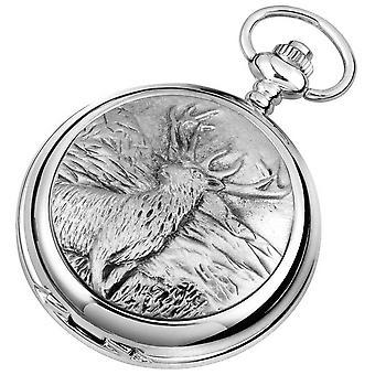 Woodford Monarch of the Glen Chrome Plated Full Hunter Quartz Pocket Watch - Silver