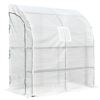 Outsunny Walk-In Tunnel Wall Greenhouse Outdoor with Windows and Doors 2 Tiers 4 Wired Shelves Gardening