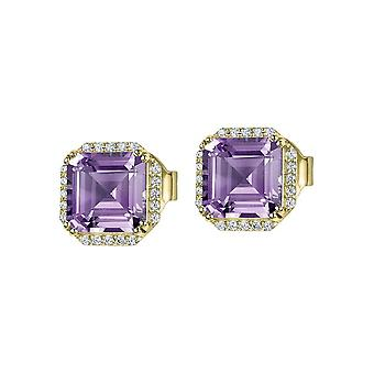 Jacques Lemans - Studs sterling silver plated with amethyst - SE-O104H