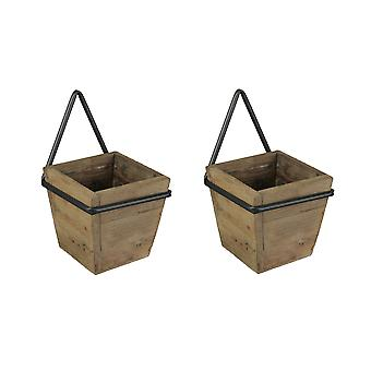 Set of 2 Wooden Wall Planters With Wrought Iron Frame Holders