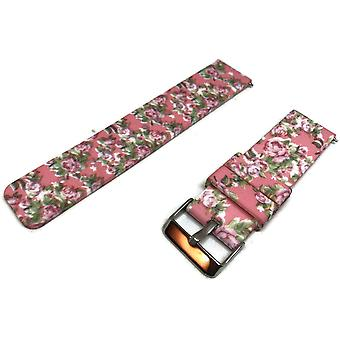 Clearance silicone rubber watch strap pink rose pattern 22mm with quick release spring bar