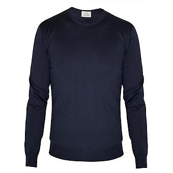 CC Collection Corneliani Navy Blue Knitted Wool Jumper
