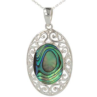 ADEN 925 Sterling Argent Ormeau Nacre Forme ovale Pendentif Collier (id 3353)