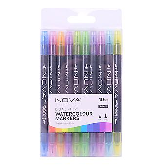 Trimcraft Nova Dual Tip Watercolour Markers Brights (10pcs) (NOV014)