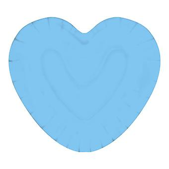 Baby Blue 20cm Heart Shaped Paper Party Plates