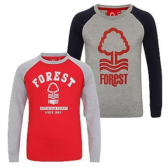 Nottingham Forest FC Official Gift Kids Crest Long Sleeve Raglan T-Shirt