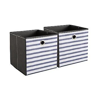 YANGFAN Striped Fabrics Folded Storage Box Without A Lid