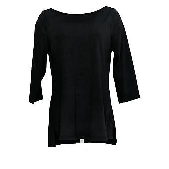 Isaac Mizrahi Live! Dames's Top Knit 3/4 Sleeve W/Cross Back Black A376620