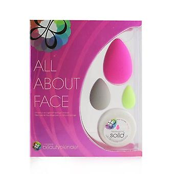 All About Face Beautyblender Set (Beautyblender + Beauty Blusher + Micro Mini BeautyBlender + Mini Blendercleanser Solid) 4pcs