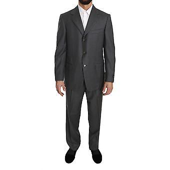 Ermenegildo Zegna gris sólido 2 piezas 3 botón traje de lana