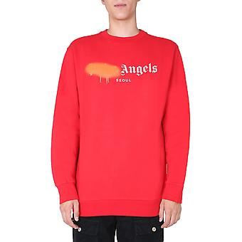 Palm Angels Pmba001f20fle0012520 Homme-apos;s Red Cotton Sweatshirt