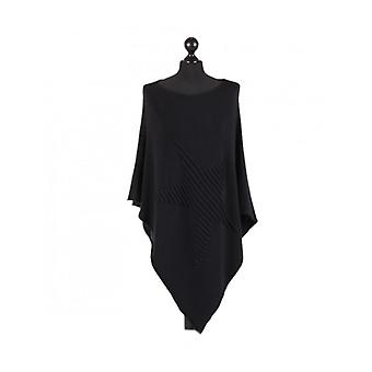 Orla Knitted Star Poncho | Black | One Size