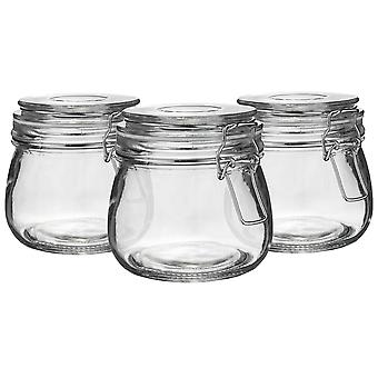 Argon Tableware Glass Storage Jars with Airtight Clip Lid - 500ml Set - White Seal - Pack of 6