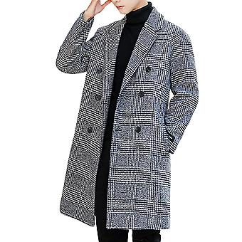 YANGFAN Mens Houndstooth Overcoat Double Breasted Loose Coat