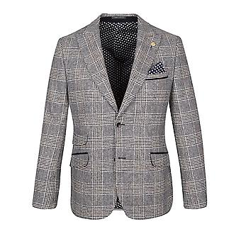 Cream With Navy & Brown Prince of Wales Check Suit Jacket