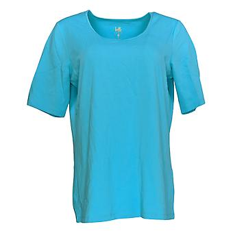 Belle by Kim Gravel Women's Top Elbow Sleeve Scoop Neck Blue A291216