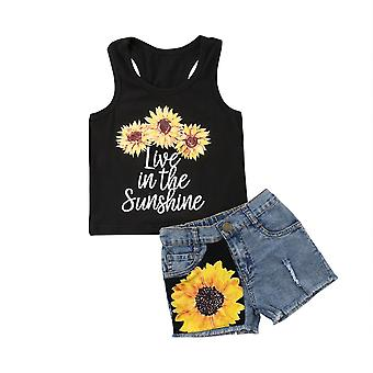 Tournesol Toddler Baby Girl Set Vêtements Sans manches Lettre Vest Tank Top+short