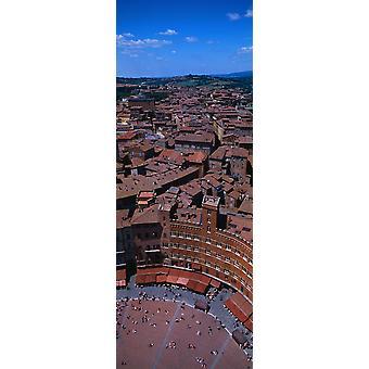 Аэрофотоснимок Староместской площади в городе Палаццо Пубблико Пьяцца дель Кампо Сиена Сиена провинции Тоскана Италия Плакат Печать