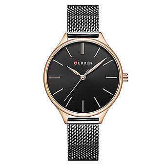 CURREN 9024 Mesh Stainless Steel Ladies Wrist Watch Casual Style Quartz Watches