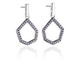 Fiorelli Silver Womens 925 Sterling Silver Pave Lilac Nano Crystal Open Shape Dangle Stud Boucles d'oreilles