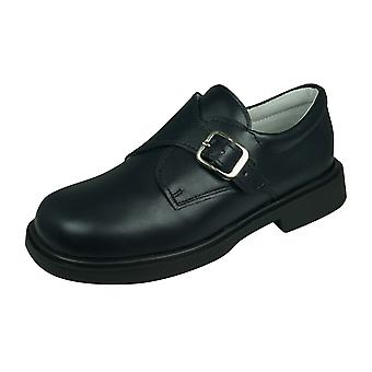 Cool Boys Fergus Leather Smart Shoes Hook and Loop - Navy Blue
