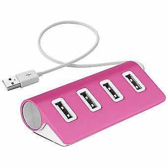 Aquarius 4 Port Aluminium USB Sleek Design Hub avec câble blindé, rose