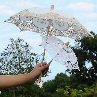 Elegant Lace Umbrella Cotton Embroidery Sunshade Parasol Wedding Decoration