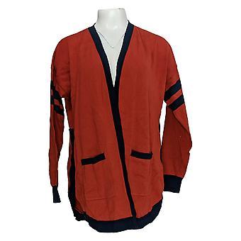Rachel Hollis Ltd Women's Sweater Intarsia Varsity Cardigan Brown A374196
