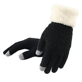 冬のタッチ画面ニットの手首の手袋の運転