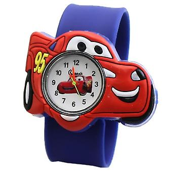 Hot Selling Watch Cartoon Car Clock Silicone Tape Patted Table Students Child